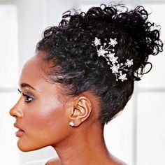 Natural up-do, with subtle hair accessories #updo #weddinghair #naturalhair #wedding--very elegant just what i want