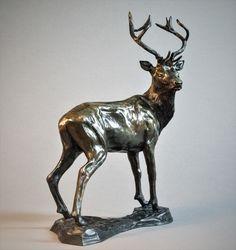 by Adrian Flanagan titled: 'Red Stag (Small Bronze Standing statue statuette)'. Deer Garden, Deer Statues, Animal Sculptures, Ceramic Sculptures, Stag Deer, Bronze Sculpture, Clay Art, Figurative Art, Saatchi Art