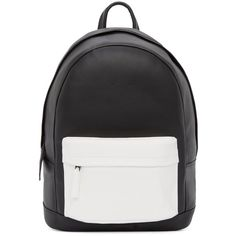 Pb 0110 Matte Black and White Small Leather Backpack ($545) ❤ liked on Polyvore featuring bags, backpacks, accessories, leather bags, leather knapsack, backpacks bags, roll bag and roll up bag