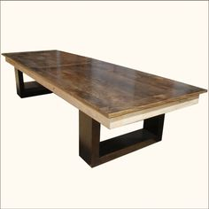 Contemporary Solid Wood Double Pedestal Dining Table For 6 People