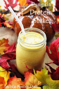 Pumpkin Protein Shake...pumpkin puree, vanilla protein powder, stevia, ice, banana, almond milk