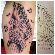 Awesome guitar tattoo. Great shading... bet it hurt! Photo by munkytattoo. For more guitar related articles, visit www.guitarjar.co.uk