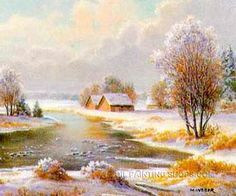 "SplendorScenery Of Nature Large Wall Art Cheap Oil Painting Landscape Winter, Size: 36"" x 24"", $104. Url: http://www.oilpaintingshops.com/splendorscenery-of-nature-large-wall-art-cheap-oil-painting-landscape-winter-2121.html"
