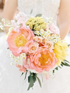 Yellow and Peach Bridal Bouquet | photography by http://www.amyarrington.com