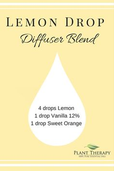 A fresh lemon drop diffuser recipe. So fresh and uplifting! Vanilla Essential Oil, 100 Pure Essential Oils, Essential Oil Uses, Essential Oil Diffuser, Doterra Diffuser, Plant Therapy Essential Oils, Diffuser Recipes, Perfume, Diffuser Blends