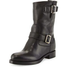 6c01d2c63fcc2 Prada Soft Calf Leather Buckle Moto Boot ( 1