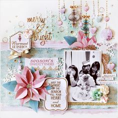 with colors: Sizzixのワーク クリスマスレイアウト merry &bright Kaisercraft Christmas Wishes, Christmas Cards, Xmas, Scrapbooking Layouts, Scrapbook Pages, Project Life Scrapbook, Collage Frames, Christmas Scrapbook, Scrapbook Embellishments