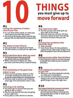 10 Things to give up in order to move forward  Source: Troubleshooting Melanated Underachievement (Fb)