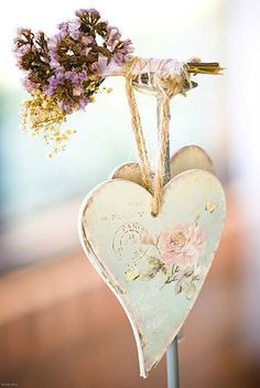 Heart- could use pretty scrapbook paper to decoupage wooden hearts and then age