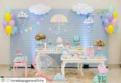 Rainbow Birthday, Rainbow Baby, Baby Birthday, 2nd Baby Showers, Baby Shower Parties, Raindrop Baby Shower, Cloud Party, Fiesta Baby Shower, Baby Shawer