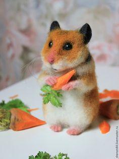 "Валяная игрушка ""Морковный грызун"" / Needle felting toy #felting #toy #cute"