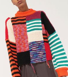 Shop UO Milo Patchwork Mock Neck Sweater at Urban Outfitters today. Urban Outfitters Tops, Eagle Outfitters, Knit Fashion, Mode Style, Sweater Weather, Cardigans For Women, Casual Looks, Knitting Patterns, Knit Crochet