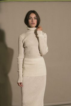 Lauren Manoogian - Ivory Accordion Turtleneck & Skirt | BONA DRAG