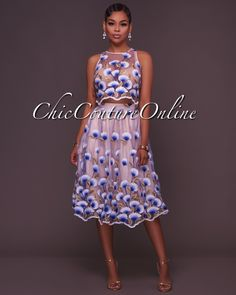 8a3af9f7a03b3 Chic Couture Online - Colette Royal-Blue Floral Embroidery Luxe Two Piece  Set, (