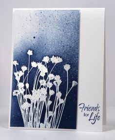 card by Heather Telford. Like the combination of white embossing with navy sponging. Good contrast.