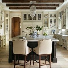 """287 Likes, 9 Comments - Build Prestige Homes (@build_prestige_homes) on Instagram: """"The @theenchantedhome kitchen is #devine #calcuttagold #marble #creamcabintery #exposedbeams…"""""""
