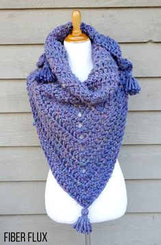 Fiber Flux: Snow Berries Blanket Shawl - free crochet pattern and video. Super chunky.