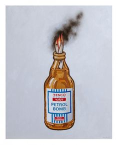 Petrol Bomb, by Banksy. Since arriving on the Bristol underground art scene in the Banksy–whose rea. Street Gallery, Art Gallery, Banksy Posters, Banksy Prints, Pop Art, Molotov Cocktail, Affordable Art Fair, Electronic Art, Sign Printing