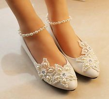 White lace Wedding shoes pearls ankle trap Bridal flats low high heels size in Clothing, Shoes & Accessories, Wedding & Formal Occasion, Bridal Shoes Lace Bridal Shoes, Bridal Flats, Bridal Wedding Shoes, Wedding Boots, Lace Wedding, Star Wedding, Green Wedding, Wedding Makeup, Wedding Ceremony