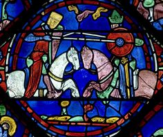Chartres Cathedral Stained Glass - Bay 07 (The Legends of Charlemagne) Panel 16 - The fight between Roland and the Saracen King Marsile