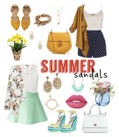 Summer sandals !! 2 looks by beingpj on Polyvore featuring polyvore, fashion, style, Lipsy, New Look, Chicnova Fashion, RED Valentino, Zizzi, Sophia Webster, Chloé, Dolce&Gabbana, Lizzy James, INC International Concepts, Kate Spade, Sole Society, Lime Crime, LSA International, clothing and summersandals