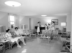 Nurses in a lounge at Holston Valley Community Hospital, 1962