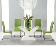 Mark Harris Natalie White High Gloss Glass Top Dining Set   180cm With 6  Green Malibu Chairs