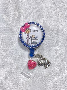 Personalized Polka Dot NICU RN Badge Reel lanyard ID document holder Graduate gift registered Nurse delivery obgyn obstetrician neonatal intensive care unit baby dr