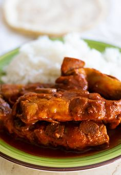 Pork Ribs Recipe (Costillas de Puerco) - Thrift and Spice Recipes Using Pork, Pork Rib Recipes, Ham Recipes, Dinner Recipes, Healthy Recipes, Mexican Food Dishes, Mexican Meals, Mexican Food Recipes, Mexican Pork Chops