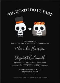 This Sweet Skulls Simple Black, white and Orange modern Halloween Wedding Invitation is a lovely idea for a fall wedding invitation. Features an illustration of a skull bride and groom on a solid black background, unique spooky and fun design. #Hllowedding Halloween Wedding Decorations, Halloween Wedding Invitations, Classy Wedding Invitations, Halloween Weddings, Minimalist Wedding Invitations, Solid Black, Black White, Elegant Modern Wedding, Black And White Wedding Invitations