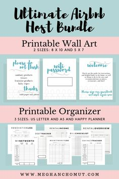 AirBnB Organizer Wall Art AirBnB Host Planner Business Planner AirBnB Printable Property Management Printable AirBnB Welcome Rental Business Management, Property Management, Money Management, Airbnb House, Fun Craft, Airbnb Rentals, Vacation Rentals, Home Buying Tips, Business Planner