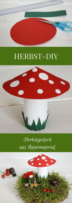 Herbstdeko basteln: Einfache Idee für ein Herbstgesteck Artisanat d Upcycled Home Decor, Upcycled Crafts, Easy Crafts, Diy And Crafts, Decor Crafts, Fall Crafts For Kids, Diy For Kids, Summer Crafts, Diy Cans