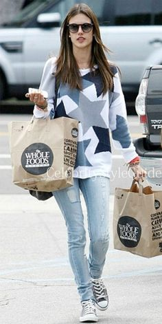 Alessandra Ambrosio in Minnie Rose Star Intarsia Pullover and destroyed skinny jeans