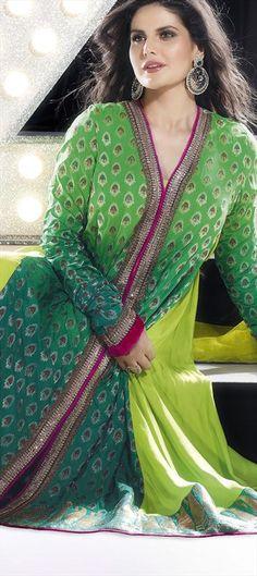 92613: #GetThisLook like actress #ZarineKhan in #anarkali.  #Bollywood #SalwarKameez #Embroidery #peacock #green #neon #Sale #Christmas #onlineshopping