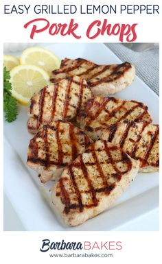 These perfect Easy Grilled Lemon Pepper Pork Chops are seasoned simply with lemon pepper, lemon juice, and olive olive, making them the per. Low Carb Lunch, Low Carb Dinner Recipes, Delicious Dinner Recipes, Low Carb Desserts, Dessert Recipes, Lunch Recipes, Lemon Pepper Pork Chops, Pork Chop Seasoning, Bbq Pork Sandwiches