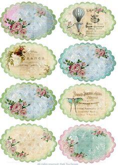 Tag printables - floral ovals