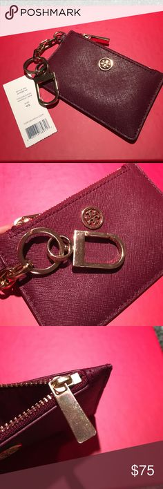 "Tory Burch Robinson Zip Card Key Fob Used. In great condition, minor scratch on the zipper hardware, no scratch on the leather . Color is Shiraz. It's like Plum. It will be a great match to York Tote. Saffiano leather Imported Key ring Zip closure; lined Exterior slip pocket 5""L x 3""H Tory Burch Accessories Key & Card Holders"