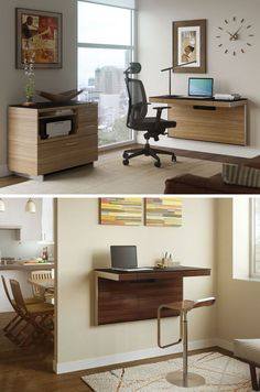 16 Wall Desk Ideas That Are Great For Small Spaces // These mounted wall desks save space, look great, and give you an office space without needing a dedicated room.
