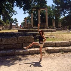 Amy, a client at The Bar Method Dr.Phillips,  does leg lifts in Greece. #WhereDoYouBar? #barmethod