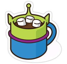 """Little Green Alien Hot Cocoa"" Stickers by jacobparr 