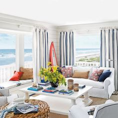 Ocean-View Cottage Living Room - 15 Shiplap Wall Ideas for Beach House Rooms - Coastal Living Beach Living Room, Cottage Living Rooms, Coastal Living Rooms, House Rooms, Beach Room, Living Area, Beach Cottage Style, Coastal Style, Beach House Decor