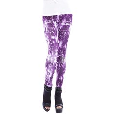 Purple Lightning and Starry Sky Print Womens Galaxy Leggings ($12) ❤ liked on Polyvore featuring pants, leggings, bottoms, purple, nebula leggings, galaxy print pants, space print leggings, cosmic leggings and print leggings