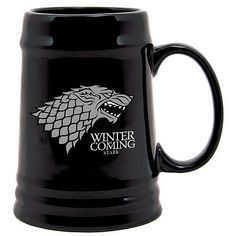 """Game of Thrones - Stark """"Winter is Coming"""" Black Ceramic Beer Stein  Manufacturer: SDToys Barcode: 8436541028975 Enarxis Code: 012342 #toys #stein #Game_of_Thrones #Stark #tvseries"""