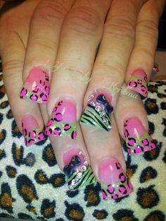 Cheetah/leopard animal print duckfeet nail art