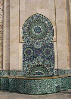 Zellij mosaic at Hassan II Mosque by antpoole, via Flickr
