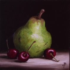 Pear with Cherries, J Palmer Daily painting Original oil still life Art