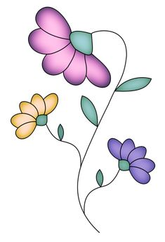 Art Floral, Motif Floral, Doodle Drawings, Easy Drawings, Doodle Art, Flower Doodles, Paint Designs, Fabric Painting, Rock Art