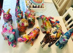 Decopatch animals handmade at one of our arty parties!
