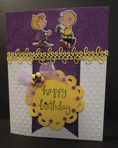Handmade card, Designs by Judy Talley. Happy Birthday to Lucy from Charlie Brown.