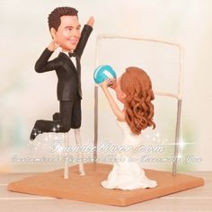 Setter Bride Hitter Groom Volleyball Wedding Cake Toppers
